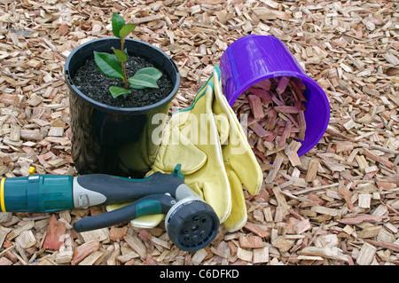 mulch and garden accessories - Stock Photo