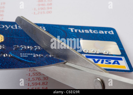 Pair of scissors cutting a Visa credit card in close up above an accounts sheet showing debts in red. England, UK, - Stock Photo