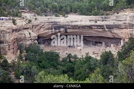 The Cliff Palace dwelling in Mesa Verde National Park - Stock Photo