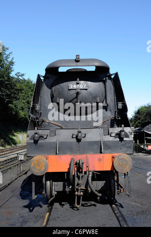 Front end of West Country class locomotive No 34007 Wadebridge at Ropley on the Mid Hants Railway, Hampshire, England, - Stock Photo