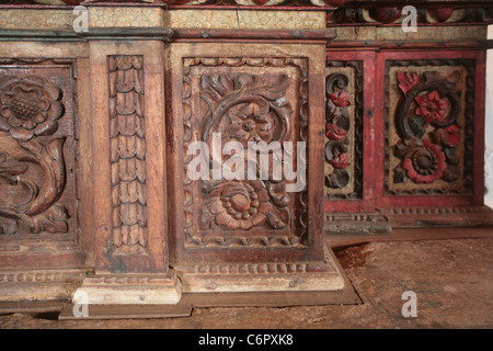 Interior view and details of the Santo Domingo de Guzmán Church at the small town of Parita, Herrera province, Panama. - Stock Photo