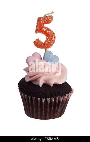 Mini cupcake with number five candle for five year aniversary isolated on white background - Stock Photo