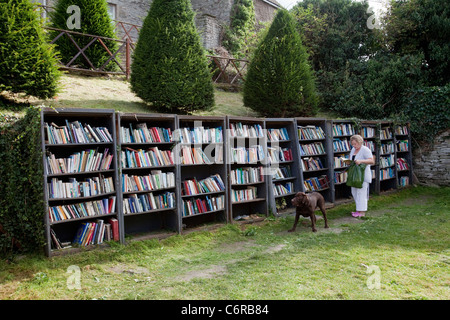 A woman browsing at an honesty bookshop in the grounds of Hay Castle in Hay-On-Wye, UK - Stock Photo