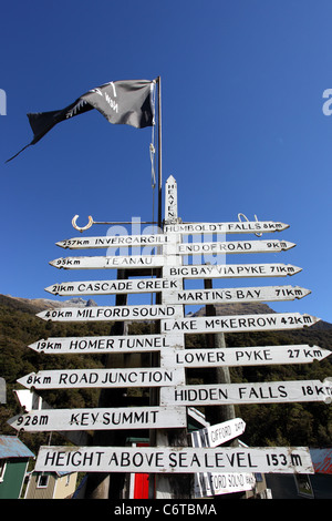 Signpost in the Hollyford Valley. Fiordland National Park, Southland, South Island, New Zealand, Australasia - Stock Photo