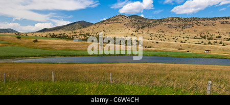 Panorama of roadside scene in Montana, with farming and ranching and 'Big Sky' views. - Stock Photo
