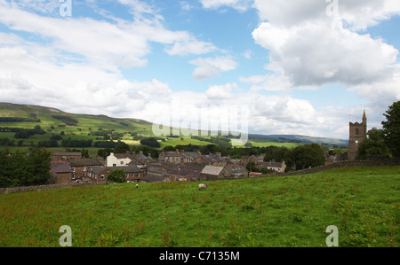 The small market town of Hawes North Yorkshire at the head of Wensleydale in the Yorkshire Dales National Park England - Stock Photo