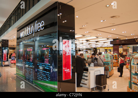 Duty free shop at Terminal 5 of Heathrow Airport. England. - Stock Photo