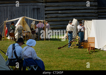Tents at a camp of Confederate soldiers awaiting a battle reenactment - Stock Photo