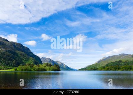 Loch Shiel in early morning from near Glenfinnan Monument, Glenfinnan, Lochabar, Scottish Highlands, Scotland, UK - Stock Photo