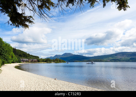 The Beach at Luss on the west bank of Loch Lomond, Argyll and Bute, Scotland, UK - Stock Photo