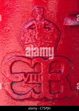 Close-up of a rare Edward VIII pillar box. - Stock Photo