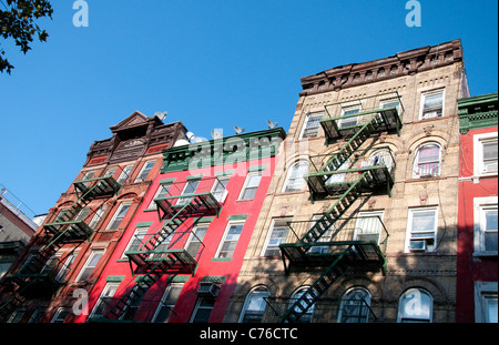 Apartment buildings in Chinatown New York, USA - Stock Photo