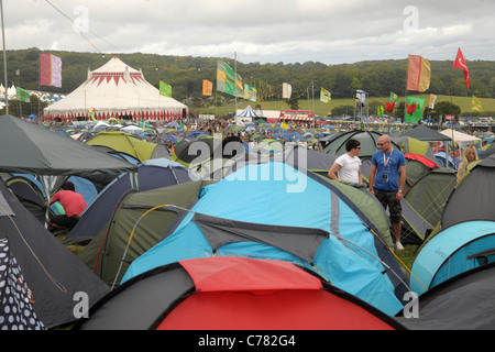 Some of the thousands of tents pitched at the 2011 Bestival music festival pop concert on the Isle of Wight, England. - Stock Photo