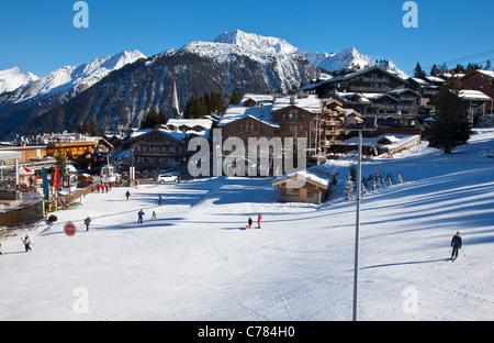 View of Courchevel 1850 ski resort, France. - Stock Photo