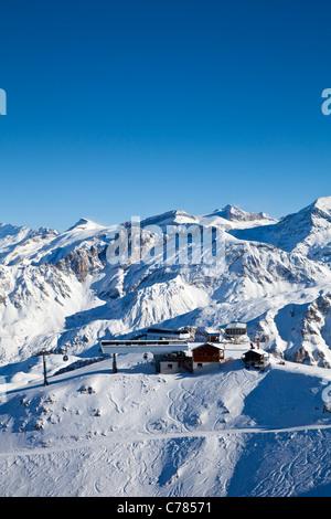 View of Vizelle ski lift station, Courchevel 1850, France. - Stock Photo