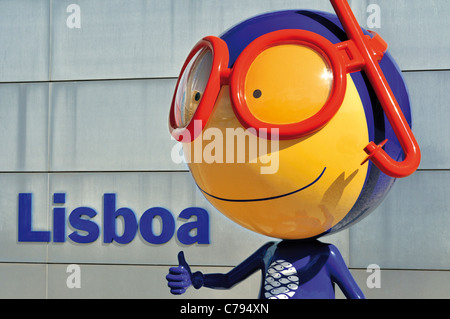 Portugal, Lisbon: Mascot Vasco in front of the Oceanario de Lisboa - Stock Photo