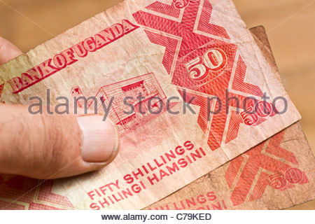 African money cash banknote – Ugandan shillings Uganda shilling Africa Shilingi UGX - Stock Photo