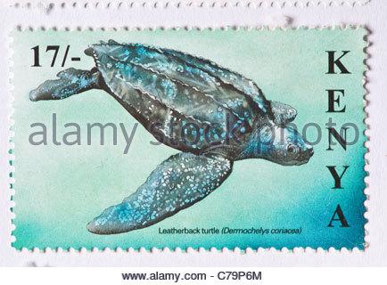 African postage stamp Kenyan Kenya Africa Kenia - Stock Photo