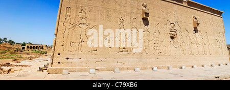 Panoramic view of the South wall of the Temple of Hathor at Dendara, Egypt showing the famous Cleopatra VII and - Stock Photo