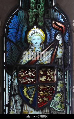 Angel stained glass in porch of All Saints Church, Gilmorton, Leicestershire, England, UK - Stock Photo
