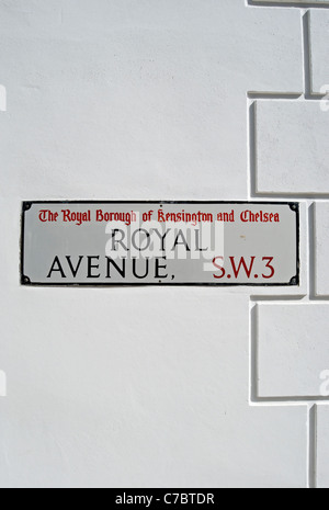 street name sign for royal avenue, chelsea, london, england - Stock Photo