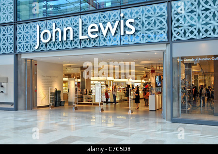 John Lewis department store entrance & interior viewed from shopping mall at  Stratford City Westfield shopping - Stock Photo