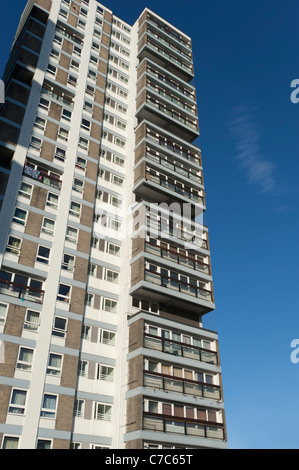 Tower block of flats or apartments that are mostly owned by the local council, near the Wandsworth Road in Lambeth, - Stock Photo