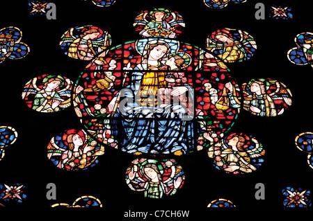 Spain, St. James Way: Glass rosette in the church La Colegiata Santa Maria la Real in Roncesvalles - Stock Photo