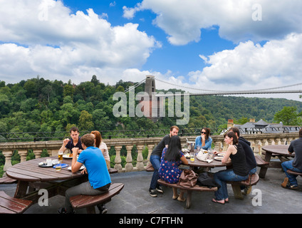 Terrace of  White Lion Pub in the Avon Gorge Hotel with Clifton Suspension Bridge behind, Sion Hill, Clifton, Bristol, - Stock Photo