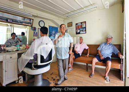 Traditional barber shop at Preveza town, Epirus, Greece - Stock Photo