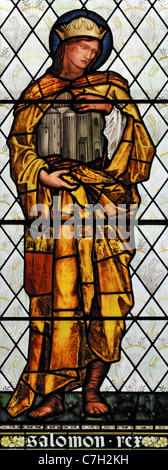 Stained glass window depicting King Solomon, Brampton Church, Cumbria, England - Stock Photo