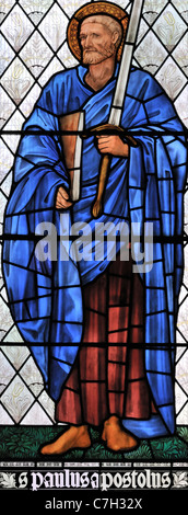 Stained glass window depicting St Paul the Apostle in Brampton Church, Cumbria, England - Stock Photo