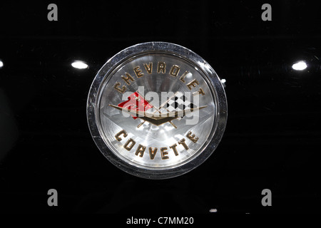 The old Chevrolet Corvette Logo at the 64th IAA (Internationale Automobil Ausstellung) - Stock Photo