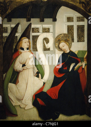 The Annunciation. 1450-1460. High Altar from the Church of Virgin Mary. Wing panel. - Stock Photo