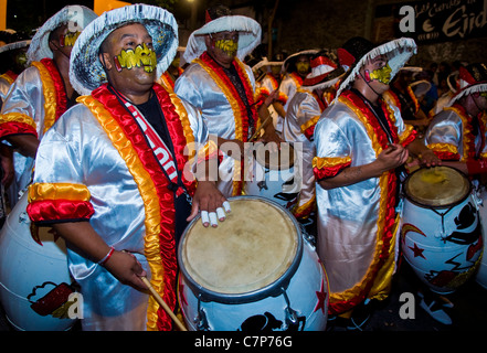 Candombe drummers in the Montevideo annual Carnaval , - Stock Photo