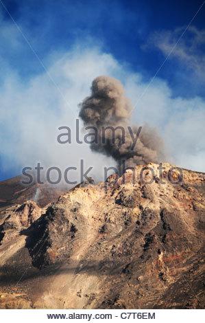 Italy, Sicily, Eolie Island, Stromboli, aerial view - Stock Photo