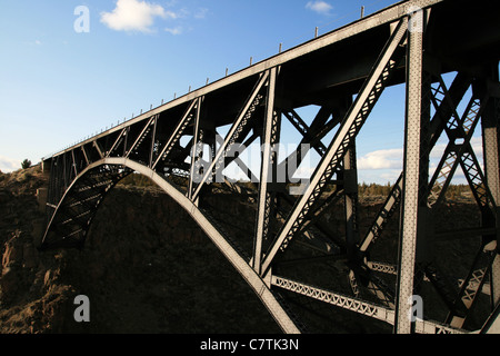 steel railroad bridge over the Crooked River in central Oregon - Stock Photo