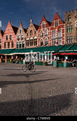 The Grote Markt or central square in Bruges, Belgium. - Stock Photo