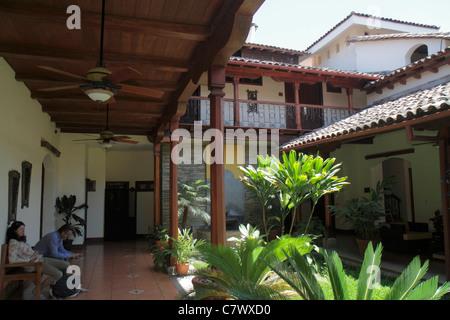 Nicaragua Granada Granada Square Calle Vega colonial heritage historic district Hotel Plaza Colon courtyard architecture - Stock Photo