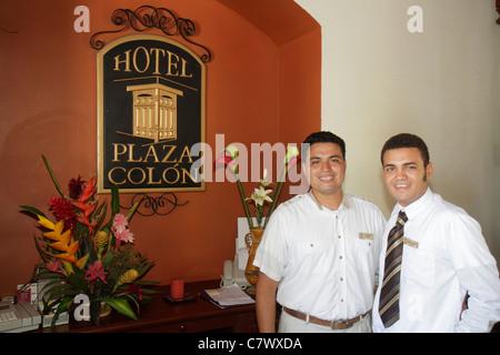 Nicaragua Granada Granada Square Calle Vega colonial heritage historic district Hotel Plaza Colon lodging front - Stock Photo