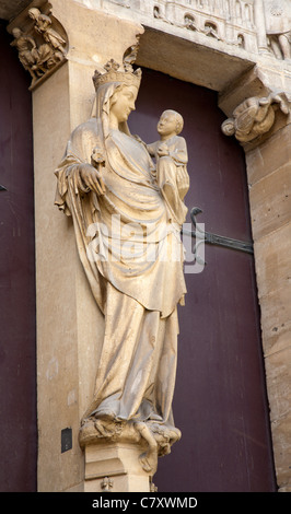 Paris - virgin Mary from east portal of Saint Denis - first gothic cathedral - Stock Photo