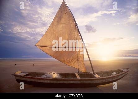 seaworth sailing raft used by fishermen of northeastern Brazil. City: Jericoacoara, State: Ceará, Brazil Cultural - Stock Photo