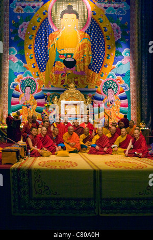 TIBETAN MONKS participate in a Dalai Lama teaching sponsored by the TIBETAN MONGOLIAN CULTURAL CENTER - BLOOMINGTON, - Stock Photo