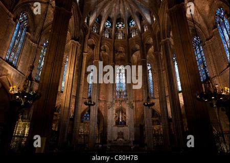 Cathedral of Santa Eulalia in Barcelona, Spain - Stock Photo