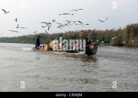 Myanmar, Burma, Shan State, Inle Lake, Boat - Stock Photo