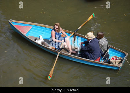 rowing on the river Cherwell in Oxford England - Stock Photo