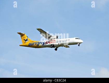 Aurigny Air Services ATR 72-500 Airliner G-VZON Landing at Gatwick Airport West Sussex England United Kingdom UK - Stock Photo