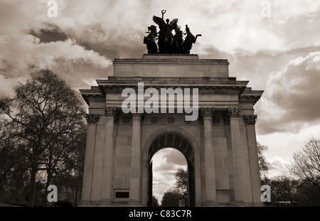 A moody image of the Wellington Arch in London, UK - Stock Photo
