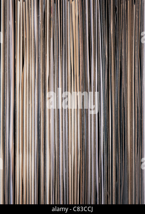 12' Vinyl LPs lined up in a rack - open end facing - Stock Photo