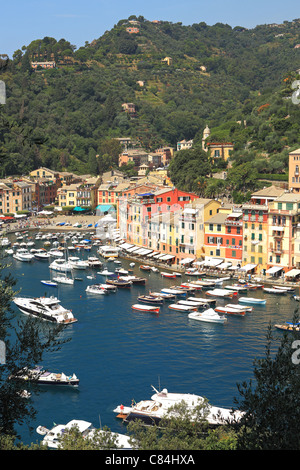 Vertical oriented image of famous town of Portofino with small bay full of yachts and boats on Ligurian sea, northern - Stock Photo